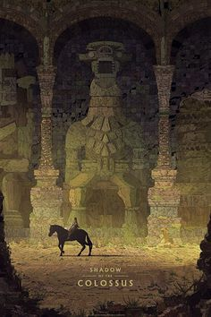 The second official Shadow of the Colossus art print by artist Kilian Eng. Commissioned by art gallery Cook and Becker and Sony Japan Studio/Team Ico. Art Gallery, Fantasy, Colossus, Game Art, Pixel Art, Fantasy Art, Shadow Of The Colossus, New Shadow, Artwork
