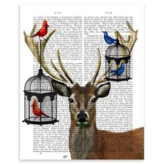FabFunky Dictionary Prints - Deer And Bird Cages, Unframed Print, 31x22cm