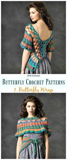 Butterfly Wrap Free Crochet Pattern - Free #Butterfly; #Crochet; Patterns