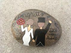 Wedding, painted rock