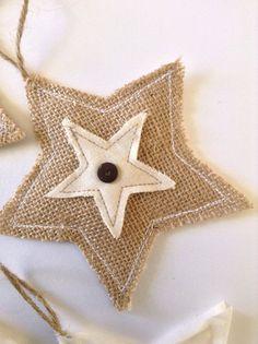 Stars / Christmas Green Stars Ornaments / Fabric Green and White Ornaments / Xmas Hanging Stars / Set of 2 / Burlap and green Fabric Stars Burlap Ornaments, White Ornaments, Fabric Ornaments, Burlap Crafts, Handmade Ornaments, Christmas Tree Ornaments, Christmas Stars, Hanging Ornaments, Christmas Presents