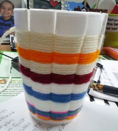 Art with Ms. Gram: Art Club Weaving with Assorted Coloured Yarns and Disposable Cups.. FOR FIBER ART (5th Grade & 3rd)