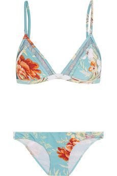 Zimmermann Anais floral-print triangle bikini   NET-A-PORTER
