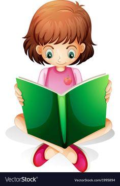 A young girl reading a green book vector image on VectorStock