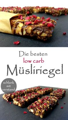 Make low carb granola bars yourself-low carb Müsliriegel selber machen The best low carb muesli bars weight carb - Low Carb Desserts, Health Desserts, Low Carb Recipes, Health Snacks, Protein Recipes, Healthy Recipes, Low Carb Granola, Desayuno Paleo, Granola Barre