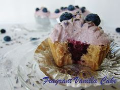 Fragrant Vanilla Cake: Raw Blueberry Lavender Filled Cupcakes