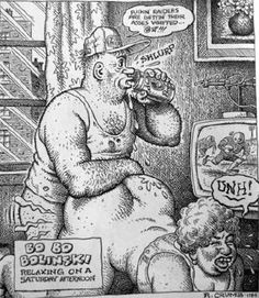 robert crumb art - Bo Bo Bolinski has easy access to his thick-legged (and therefore ideal by Crumb's measure) wife and who doesn't even appreciate her as he drinks a beer and ...