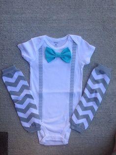 Suspender onesie, baby boy bow tie, aqua bowtie, gray chevron, onesie bow ties, toddler bow tie by SweetCarolineCrafts on Etsy