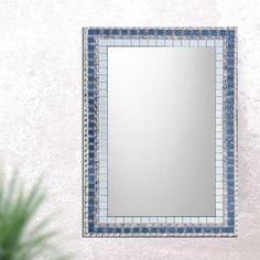 Mosaic Mirror, Bathroom Mirror, Large Wall Mirror, Silver And Blue