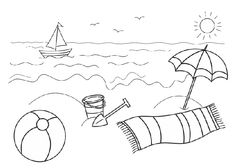 Preschool Summer Safety Coloring Pages Summer Coloring Sheets, Beach Coloring Pages, Printable Coloring Pages, Coloring Pages For Kids, Coloring Books, Adult Coloring, Beach Crafts, Summer Crafts, Summer Kids