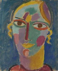 Mystischer Kopf: Frauenkopf auf blauem Grund (1917) - Alexej von Jawlensky