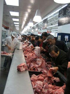Chinese supermarket - Different animals meat
