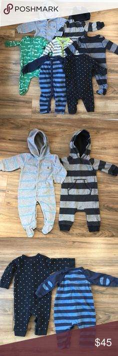 6 GAP and 1 Old Navy One Pieces Sz 3-6 months Super cute lot of boys clothes. They have varying degrees of wear but are still functional and cute. One has an issue as noted in last pic. The first two are hooded and the footed one is like velour fabric. Then there are three with feet and two without. All are GAP except the gray stripes with the green trim. I'm happy to unbundle if you don't want the whole lot. GAP & Old Navy One Pieces Footies