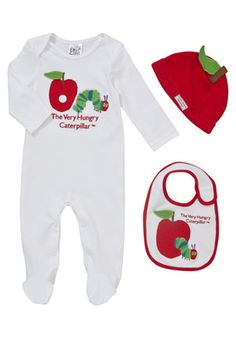 The Very Hungry Caterpillar All In One, Bib and Hat Set £10! Love the apple hat!