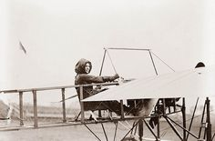 Harriet Quimby was one of the pioneering women in flight. The picture shows Harriet Quimby in her airplane. The picture was taken in 1911. Harriet was the first woman to fly over the English Channel.