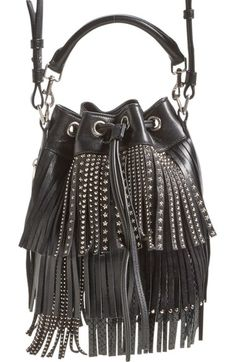 aac3d87970f0 Saint Laurent  Small Emmanuelle  Studded Fringe Bucket Bag available at… Saint  Laurent Handbags