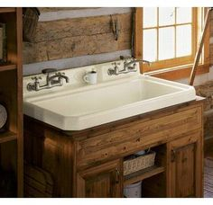 View the Kohler K-6607-3 Harborview self-rimming or wall-mount utility sink with three-hole faucet drilling on center deck of sink at Build.com.