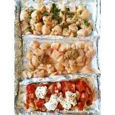 Saw @fitmencook do this with a pan. Genius! 3 flavors, one pan. Yes. ·6 Chicken Breats ·All 3 have Salt, Pepper, Garlic Powder,Onion Powder.  I then added-- ·TOP- 3 Frozen Basil cubes, Italian Seasoning ·MIDDLE- Honey, Whole Grain Mustard ·BOTTOM- Sriracha, Greek Yogurt, Red Pepper Flakes.  I tossed it together, wanted you to see the ingredients first.  Bake at 375° for about 25-30. (mine is still cooking I'll let ya know how long it took in a bit. :) Hooray for #foodprep !! #Padgram