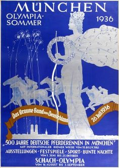 Olympic Games Summer Germany 1936 - original vintage poster by Ludwig Lutz Ehrenberger for the annual Brown Ribbon of Germany / Das Braune Band von Deutschland 26 July 1936 - 500 Years of German Horse Racing in Munich summer sport and cultural events, listed on AntikBar.co.uk
