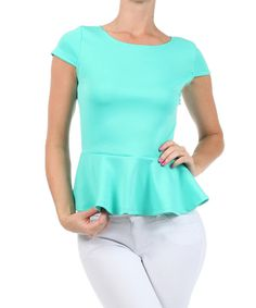 Look at this Mint Peplum Top on #zulily today!
