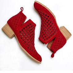 Jeffrey Campbell 'Taggart red suede, out bootie ($175) ❤ liked on Polyvore featuring shoes, boots, ankle booties, suede bootie, short boots, jeffrey campbell bootie, cut out booties and cutout booties