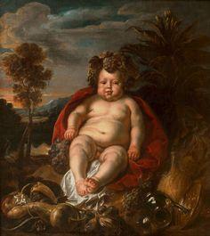 Infant Bacchus seated in a landscape by Jacob Jordaens, ca. 1640 (PD-art/old), Muzeum Pałacu Króla Jana III w Wilanowie