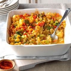 """This creamy mac and cheese definitely doesn't come from a box! Fresh veggies add crunch and color and will leave everyone saying, """"More, please!"""" —Marsha Morril, Harrisburg, Oregon Baby Food Recipes, Dinner Recipes, Toddler Recipes, Cooking Recipes, Kid Recipes, Potluck Recipes, Healthy Recipes, Toddler Food, Toddler Meals"""