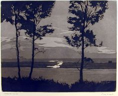 """Chatham Bar, Cape Cod,"" Philip Kappel, 1926, aquatint, 7 3/4 in x 10"", Gibbes Museum."