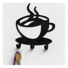 Spectrum Coffee House Cup Java Silhouette Wall Mounted Key Hook Art Metal Mug Home Decor - 2 Pack, 2015 Amazon Top Rated Hooks & Hangers #Home