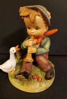 Eric Stauffer Figurine Boy Playing Horn with Goose #s8248 Arnat