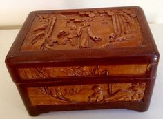 Unusual Vintage Box  with Asian Scenes carved by VintageUKSouth