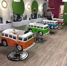 Amazingly cute VW camper chairs in a kids hair salon.