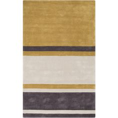 Gold beige and charcoal stripes make up this contemporary hand tufted Cosmopolitan rug from Surya (COS-9215).