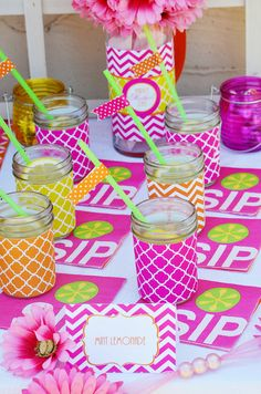 Mason jars with scrapbook paper for cups?