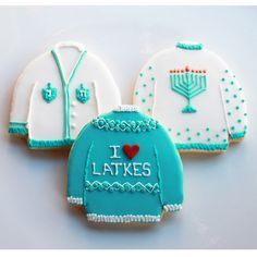 Ugly Hanukkah Sweater Cookie Gift Set (Vanilla) 3 Cookies - MADE TO ORDER via WhippedBakeshop on Etsy.