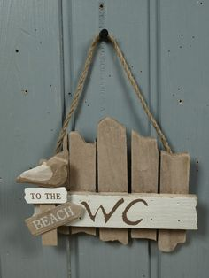 "Türschild ""WC"" aus Holz ""To the Beach"" ca. 17x14cm maritime Bad Deko"