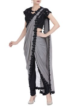 Buy Grey embroidered pre draped saree with pants. by Neha Gursahani at Aza Fashions Saree Gown, Sari Dress, The Dress, Dhoti Saree, Saree Wearing Styles, Saree Styles, Fancy Blouse Designs, Saree Blouse Designs, Indian Designer Outfits