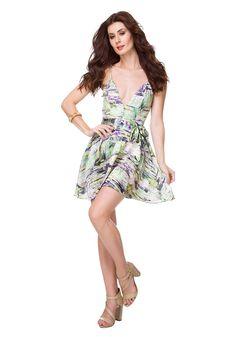 Vestido Evasê Estampado Faixa