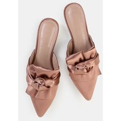 Backless Satin Knotted Flats PINK ($31) ❤ liked on Polyvore featuring shoes, flats, pink, pink shoes, knot shoes, backless flat shoes, satin shoes and flat pumps