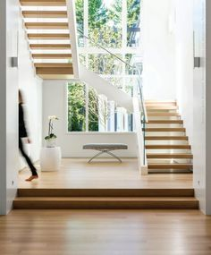 Open stairs and wonderful viewing window #daylighting Design New England - September/October 2015 - Page 74-75