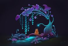 Fantasy Art Landscapes, Landscape Art, Whatsapp Wallpapers Hd, Landscape Illustration, Illustration Art, Character Art, Character Design, Alien Plants, Mushroom Art