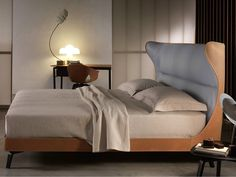 Tanned leather double bed MAMY BLUE BED - Poltrona Frau