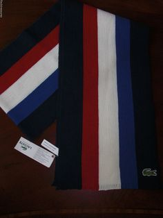 NWT! Lacoste Croc Logo Wool Scarf Navy Blue White & Red Soft Super NICE! #Lacoste #Scarf