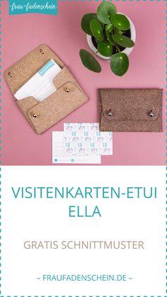 Kostenloses Schnittmuster: Visitenkarten-Etui Ella - Best Do It Yourself (DIY) Ideas Diy Bags And Purses Patterns, Diy Bags Purses, Diy Purse, Leather Diy Crafts, Leather Projects, Leather Craft, Sewing Patterns Free, Free Sewing, Sewing Tutorials