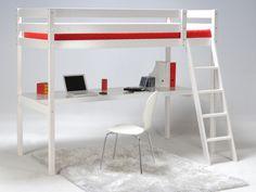 Cama alta PRADO - 90x190 cm - Escritorio integrado - Madera blanca