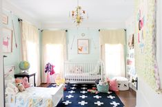 shared room ideas - love the style of toddler bed and the reading corner, plus sweet woodland prints!
