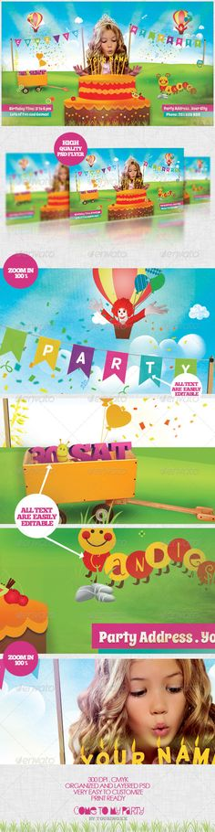 Come To My Party Flyer Template / $6. *** This Flyer is Perfect for the Promotion of Children's Parties/Birthdays, Fun Events or any Cute Occasion!.***