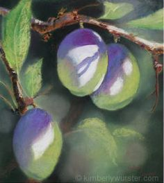 August Plums by Kimberly Wurster Pastel ~ 22 1/4 x 20 1/8
