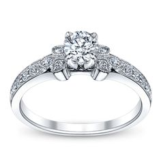 Love the antique elements U Two 14K White Gold Ladies Diamond Engagement Ring