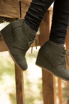 Click to shop TOMS Desert Wedges in olive herringbone. These comfortable ankle boots are a daily staple.